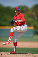 Philadelphia Phillies Kevin Gowdy (34) during a minor league Spring Training game against the Pittsburgh Pirates on March 13, 2019 at Pirate City in Bradenton, Florida.  (Mike Janes/Four Seam Images)