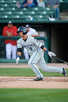 West Michigan Whitecaps second baseman Anthony Pereira (9) follows through on a swing during a game against the Peoria Chiefs on May 8, 2017 at Dozer Park in Peoria, Illinois.  West Michigan defeated Peoria 7-2.  (Mike Janes/Four Seam Images)