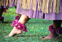 Close-up of female hula dancer's feet with purple ankle leis, during a performance of hula kahiko (ancient hula). A celebration of Prince Kuhio Day at Kuhio Elementary School.