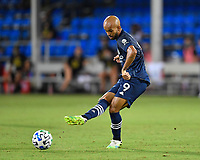 LAKE BUENA VISTA, FL - AUGUST 01: Héber #9 of New York City FC passes the ball during a game between Portland Timbers and New York City FC at ESPN Wide World of Sports on August 01, 2020 in Lake Buena Vista, Florida.