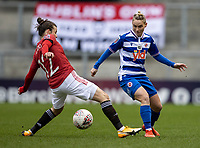 7th February 2021; Leigh Sports Village, Lancashire, England; Women's English Super League, Manchester United Women versus Reading Women; Jess Fishlock of Reading under pressure from Hayley Ladd of Manchester United Women