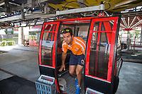 Austria, Kitzbuhel, Juli 15, 2015, Tennis, Davis Cup, Dutch team, Jean-Julien Rojer comes out of the cablecar<br /> Photo: Tennisimages/Henk Koster