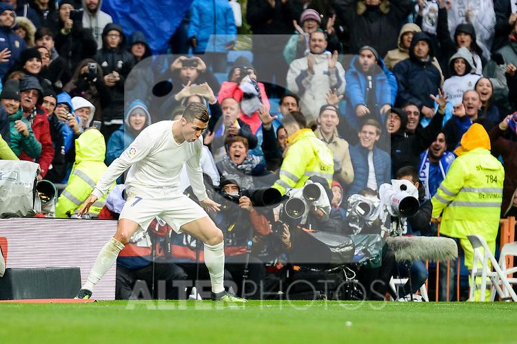 Real Madrid's player Cristiano Ronaldo celebrating a goal during match of La Liga between Real Madrid and Sporting de Gijon at Santiago Bernabeu Stadium in Madrid, Spain. November 26, 2016. (ALTERPHOTOS/BorjaB.Hojas)