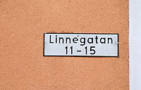A street named after Carl Linnaeus Linné Linne, Linnégatan. Vaxjo town. Smaland region. Sweden, Europe.