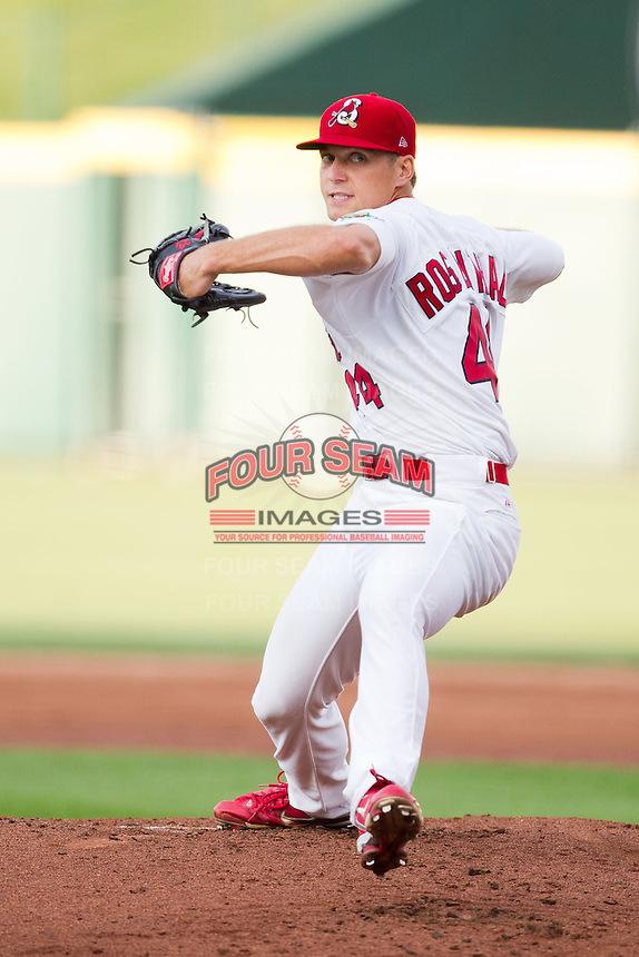 Trevor Rosenthal (44) of the Springfield Cardinals delivers a pitch during a game against the Arkansas Travelers at Hammons Field on June 13, 2012 in Springfield, Missouri. (David Welker/Four Seam Images)