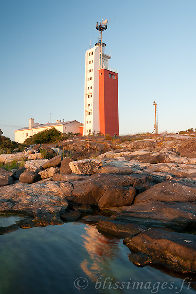 Rippled sea reflects Kylmäpihlaja lighthouse in the Gulf of Bothnia off Rauma, finland.