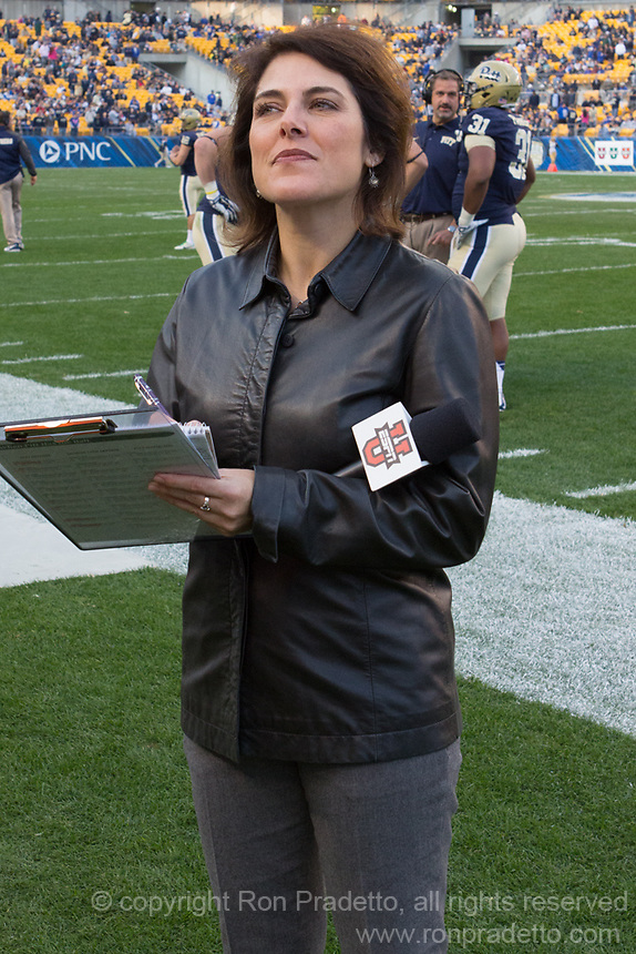 ESPN sideline reporter Cara Capuano. The Georgia Tech Yellow Jackets defeated the Pitt Panthers 56-28 at Heinz Field, Pittsburgh Pennsylvania on October 25, 2014.
