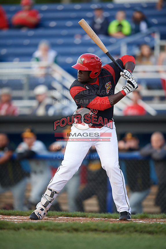 Batavia Muckdogs first baseman Lazaro Alonso (19) at bat during a game against the West Virginia Black Bears on June 24, 2017 at Dwyer Stadium in Batavia, New York.  The game was suspended in the bottom of the third inning and completed on June 25th with West Virginia defeating Batavia 6-4.  (Mike Janes/Four Seam Images)