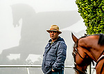 January 23, 2020: Trainer Peter Miller watches as Mo Forza exercises as horses prepare for the Pegasus World Cup Invitational at Gulfstream Park Race Track in Hallandale Beach, Florida. Scott Serio/Eclipse Sportswire/CSM