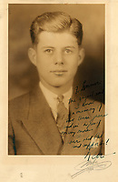 BNPS.co.uk (01202) 558833<br /> Pic: R&RAuctions/BNPS<br /> <br /> A rare signed school yearbook photo of JFK has emerged for sale for £11,000. ($15,000)<br /> The future US president cuts a dashing figure in a suit and tie in the black and white photo taken in 1935.