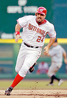 12 June 2006: Nick Johnson, first baseman for the Washington Nationals,hustles to third in the second inning of a game against the Colorado Rockies at RFK Stadium, in Washington, DC. The Nationals fell to the Rockies 4-3 in the first game of the four game series...Mandatory Photo Credit: Ed Wolfstein Photo..