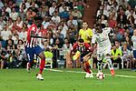 Real Madrid's Vinicius Jr. and Atletico de Madrid's Thomas Teye during La Liga match between Real Madrid and Atletico de Madrid at Santiago Bernabeu Stadium in Madrid, Spain. September 29, 2018. (ALTERPHOTOS/A. Perez Meca)