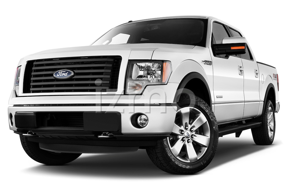 Low aggressive front three quarter view of a 2013 Ford F150 FX4 crew cab
