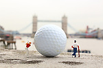 Pictured:  Anythings Possible<br /> <br /> Tiny figurines give a new perspective on everyday objects as they are posed interacting with them in their miniature world.  Artist Roy Tyson creates witty and intriguing imagery with customised miniature figures, under the name Roy's People.<br /> <br /> Since 2012, he has been photographing his miniature world on the streets of London and beyond.  SEE OUR COPY FOR DETAILS.<br /> <br /> Please byline: Roy Tyson/Roy's People/Solent News<br /> <br /> © Roy Tyson/Roy's People/Solent News & Photo Agency<br /> UK +44 (0) 2380 458800