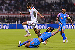 Mohamed Saad Alromaihi of Bahrain (L) jumps to avoid Sandesh Jhingan of India (R) during the AFC Asian Cup UAE 2019 Group A match between India (IND) and Bahrain (BHR) at Sharjah Stadium on 14 January 2019 in Sharjah, United Arab Emirates. Photo by Marcio Rodrigo Machado / Power Sport Images