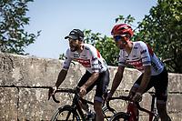 Julien Bernard (FRA/Trek Segafredo) and Richie Porte (AUS/Trek Segafredo) on their way to the  pre stage sign on. <br /> <br /> Stage 17: Pont du Gard to Gap (200km)<br /> 106th Tour de France 2019 (2.UWT)<br /> <br /> ©kramon