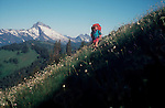 Woman hiking, Henry M Jackson Wilderness Area, Cascade Mountains, Pacific Northwest, Washington State, U.S.A., North America, Maggie Coon, released.