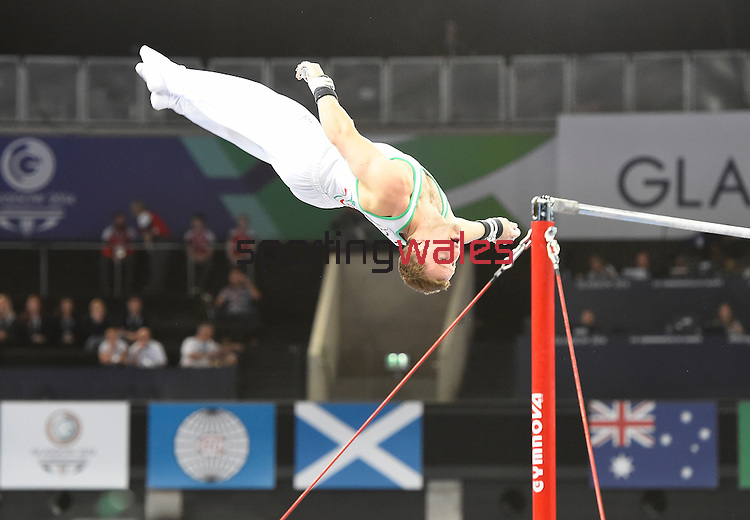 Wales' Clinton Purnell during his routine on the horizontal bar in the WAG individual qualification and team final<br /> <br /> Photographer Chris Vaughan/CameraSport<br /> <br /> 20th Commonwealth Games - Day 6 - Tuesday 29th July 2014 - Gymnastics Artistic - The SSE Hydro - Glasgow - UK