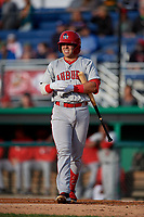 Auburn Doubledays Anthony Peroni (5) during a NY-Penn League game against the Batavia Muckdogs on June 14, 2019 at Dwyer Stadium in Batavia, New York.  Batavia defeated 2-0.  (Mike Janes/Four Seam Images)