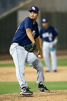 New Orleans Zephyrs pitcher Mariano Gomez #48 delivers a pitch during a game against the Round Rock Express at the Dell Diamond on July 20, 2011 in Round Rock, Texas.  New Orleans defeated Round Rock 14-11.  (Andrew Woolley/Four Seam Images)