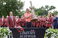 30th May 2021; Fort Worth, Texas, USA;  Jason Kokrak receives the trophy after winning the Charles Schwab Challenge on May 30, 2021 at Colonial Country Club in Fort Worth, TX.