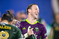 LAKE BUENA VISTA, FL - AUGUST 11: Steve Clark #12 of the Portland Timbers celebrates a win after a game between Orlando City SC and Portland Timbers at ESPN Wide World of Sports on August 11, 2020 in Lake Buena Vista, Florida.