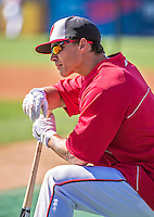 11 March 2014: Washington Nationals infielder Zach Walters awaits his turn in the batting cage prior to a Spring Training game against the New York Yankees at Space Coast Stadium in Viera, Florida. The Nationals defeated the Yankees 3-2 in Grapefruit League play. Mandatory Credit: Ed Wolfstein Photo *** RAW (NEF) Image File Available ***