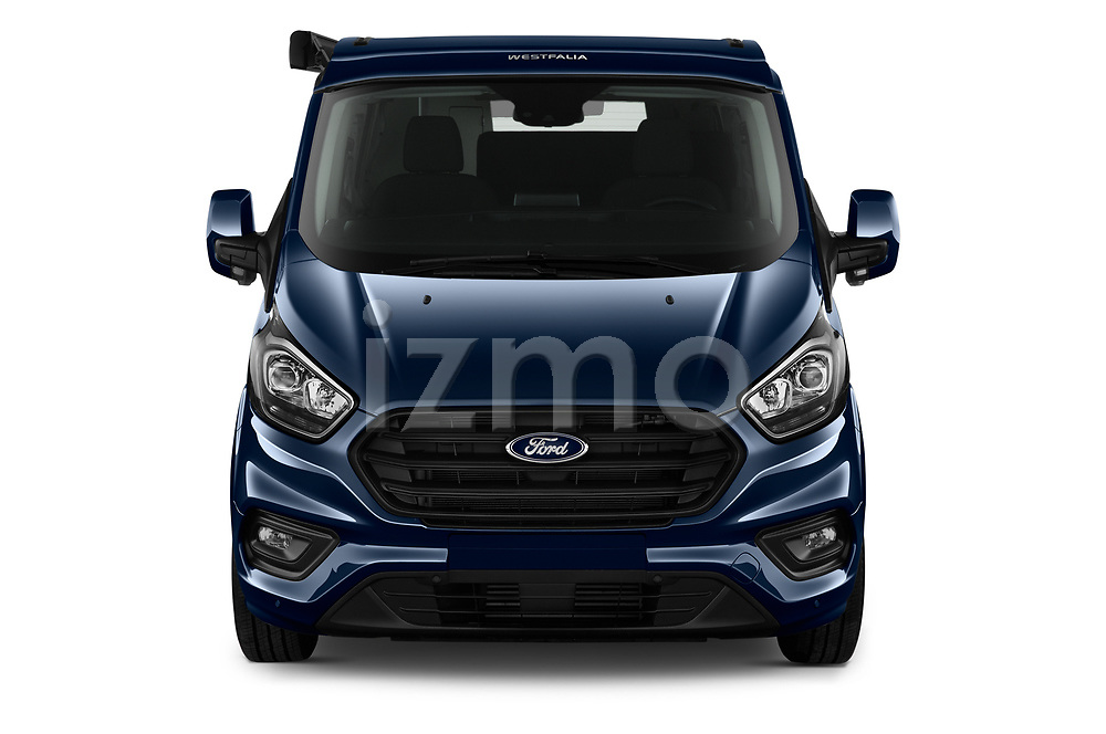 Car photography straight front view of a 2020 Ford Transit-Custom Nugget 4 Door Camper Van Front View