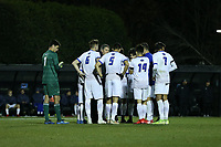 WINSTON-SALEM, NC - DECEMBER 07: The University of California Santa Barbara players huddle on the field during a game between UC Santa Barbara and Wake Forest at W. Dennie Spry Stadium on December 07, 2019 in Winston-Salem, North Carolina.
