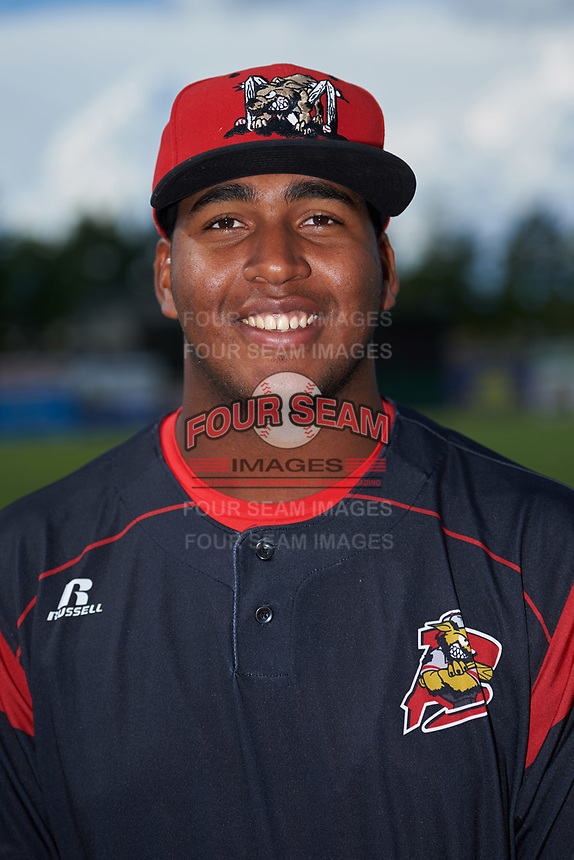 Batavia Muckdogs Alberto Guerrero (41) poses for a photo before a game against the West Virginia Black Bears on June 26, 2017 at Dwyer Stadium in Batavia, New York.  Batavia defeated West Virginia 1-0 in ten innings.  (Mike Janes/Four Seam Images)