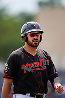 Nashville Sounds designated hitter Renato Nunez (34) during a game against the New Orleans Baby Cakes on May 1, 2017 at First Tennessee Park in Nashville, Tennessee.  Nashville defeated New Orleans 6-4.  (Mike Janes/Four Seam Images)