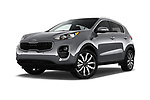 Stock pictures of low aggressive front three quarter view of 2018 KIA Sportage EX 5 Door SUV Low Aggressive