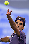 SHANGHAI, CHINA - OCTOBER 14:  Roger Federer of Switzerland serves to Andreas Seppi of Italy during day four of the 2010 Shanghai Rolex Masters at the Shanghai Qi Zhong Tennis Center on October 14, 2010 in Shanghai, China.  (Photo by Victor Fraile/The Power of Sport Images) *** Local Caption *** Roger Federer