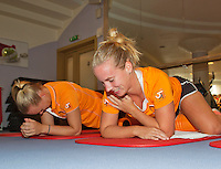 Moskou, Russia, Februari 4, 2016,  Fed Cup Russia-Netherlands,  Dutch team in the fitness,  Kiki Bertens and Richel Hogenkamp, (foreground)<br /> Photo: Tennisimages/Henk Koster