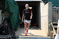 CARY, NC - SEPTEMBER 12: Tyler Lussi #34 of the Portland Thorns FC takes the field before a game between Portland Thorns FC and North Carolina Courage at Sahlen's Stadium at WakeMed Soccer Park on September 12, 2021 in Cary, North Carolina.