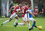 Hamilton Accies v St Johnstone…25.09.16.. New Douglas Park   SPFL<br />Danny Swanson is closed down by Greg Docherty and Dan Seaborne<br />Picture by Graeme Hart.<br />Copyright Perthshire Picture Agency<br />Tel: 01738 623350  Mobile: 07990 594431