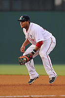 First baseman Boss Moanaroa (29) of the Greenville Drive in a game against the Charleston RiverDogs on Wednesday, June 12, 2013, at Fluor Field at the West End in Greenville, South Carolina. Charleston won, 10-5. The teams wore their Boston and New York affiliate uniforms as part of a promotion. (Tom Priddy/Four Seam Images)