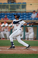 Mahoning Valley Scrappers Eric Rodriguez (10) at bat during a NY-Penn League game against the Hudson Valley Renegades on July 15, 2019 at Eastwood Field in Niles, Ohio.  Mahoning Valley defeated Hudson Valley 6-5.  (Mike Janes/Four Seam Images)