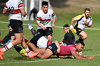 Francis Manuleleua of Kings College scores a try during the College 1st XV Rugby - Scots College v Kings College at Scots College, Wellington, New Zealand on Saturday 8 May 2021.<br /> Copyright photo: Masanori Udagawa /  www.photosport.nz