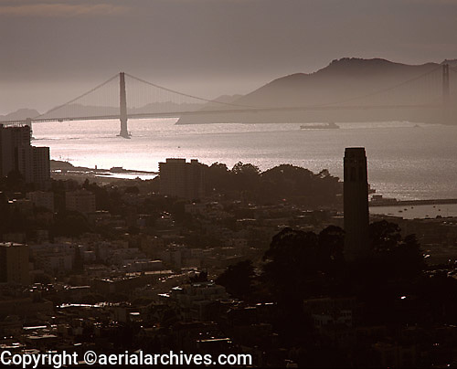 aerial photograph Coit Tower Golden Gate bridge San Francisco, California