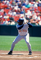 SAN FRANCISCO, CA:  Tony Gwynn of the San Diego Padres bats during a game against the San Francisco Giants at Candlestick Park in San Francisco, California in 1998. (Photo by Brad Mangin)