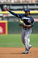 Milwaukee Brewers second baseman Rickie Weeks #23 throws to first during the Major League Baseball game against the Chicago White Sox on June 24, 2012 at US Cellular Field in Chicago, Illinois. The White Sox defeated the Brewers 1-0 in 10 innings. (Andrew Woolley/Four Seam Images).
