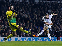12.12.2013 London, England. Tottenham Hotspur midfielder Andros Townsend (17) shoots for goal during the Europa League game between Tottenham Hotspur and Anzhi Makhachkala from White Hart Lane.
