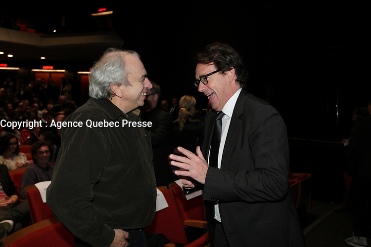 October 10, 2012 - Montreal. Quebec , Canada - Julien Poulin, actor (L)  and Pierre-Karl Peladeau, CEO Quebecor (R) at the <br /> Opening of Montreal New Cinema Festival (Festival du Nouveau Cinema de Montreal) at Place des arts  with LA MISE A L'AVEUGLE directed by Simon Galiero.