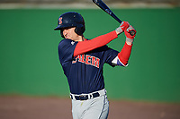Salem Red Sox second baseman Nick Lovullo (20) warms up on deck during the first game of a doubleheader against the Potomac Nationals on May 13, 2017 at G. Richard Pfitzner Stadium in Woodbridge, Virginia.  Potomac defeated Salem 6-0.  (Mike Janes/Four Seam Images)