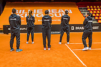 Den Bosch, The Netherlands, April 15, 2021,    Maaspoort, Billy Jean King Cup  Netherlands -  China : Draw ,  Chinese team<br /> Photo: Tennisimages/Henk Koster