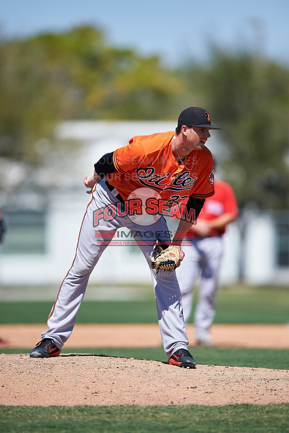 Baltimore Orioles starting pitcher Trey Haley (23) looks in for the sign during a minor league Spring Training game against the Boston Red Sox on March 16, 2017 at the Buck O'Neil Baseball Complex in Sarasota, Florida.  (Mike Janes/Four Seam Images)