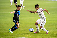 SAN JOSE, CA - SEPTEMBER 05: Paul Marie #33 and Andre Shinyashiki #99 during a game between Colorado Rapids and San Jose Earthquakes at Earthquakes Stadium on September 05, 2020 in San Jose, California.