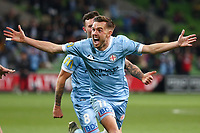 22nd May 2021, Melbourne, Australia;  Craig Noone of Melbourne City celebrates his goal in the 59th minute during the Hyundai A-League football match between Melbourne City FC and Central Coast Mariners at AAMI Park in Melbourne, Australia.