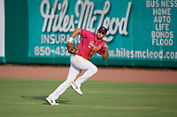 Pensacola Blue Wahoos outfielder Alex Kirilloff (19) chases down a fly ball during a Southern League game against the Mobile BayBears on July 25, 2019 at Blue Wahoos Stadium in Pensacola, Florida.  Pensacola defeated Mobile 2-1 in the first game of a doubleheader.  (Mike Janes/Four Seam Images)